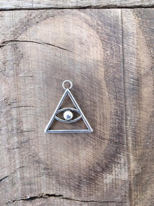 Pendentif Triangle avec oeil - Laiton argenté
