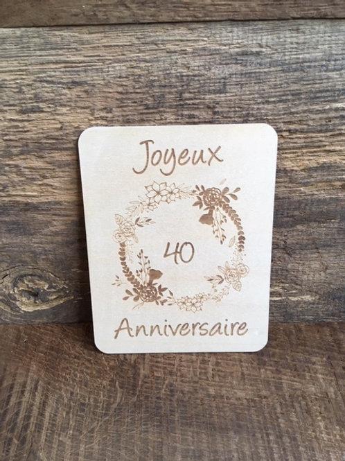 Carte en bois - Joyeux anniversaire - Age à choix