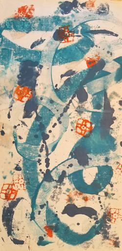 Trust The Tao, Encaustic Wax Monotype, 55 x 27