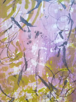Through The Cracks, Encaustic Wax Monotype, 18 x 12