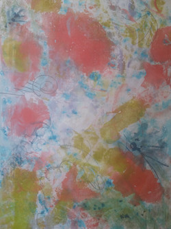 Some Of Us Are Looking At The Stars, Encaustic Wax Monotype with Graphite, 30.5 x 25