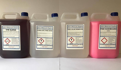 TFR 5L Tyre Dressing 5L Tar and Glue Remover 5L & Pink Sheen 5L