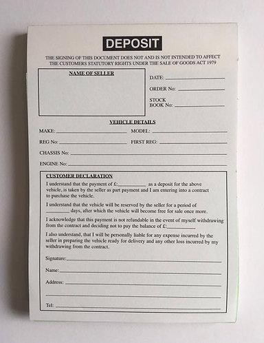 Used Car/ Vehicle Sales Deposit Pad