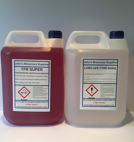 TFR Traffic Film Remover 5L & Tyre Dressing Long Lasting Tyre Shine 5L