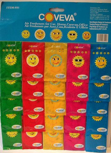 Assorted Coveva Smiley Sun Hanging Air Fresheners