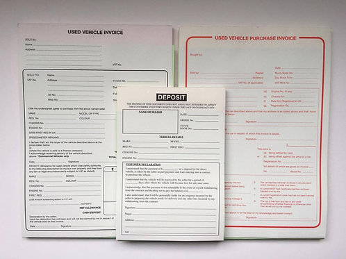 Used Car Invoice Pad, Purchase Pad & Deposit Pad
