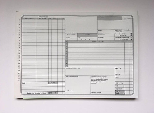 Used Car Vehicle Garage Repair Sales Invoice Pad