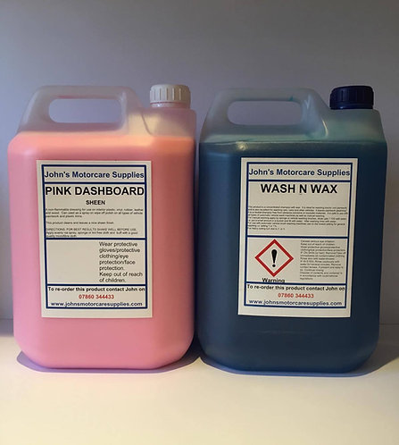 Pink Dashboard Sheen 5L & Wash and Wax 5L