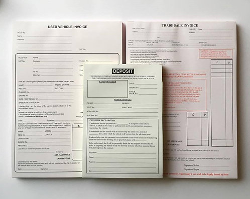 Used Car Sales Invoice Pad, Trade Sale & Deposit Pad Buying & Selling Vehicles