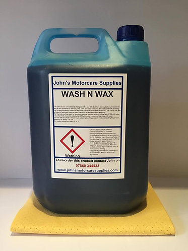 Wash & Wax Shine Concentrated Shampoo 2.5 Litres Free Synthetic Chamois Leather