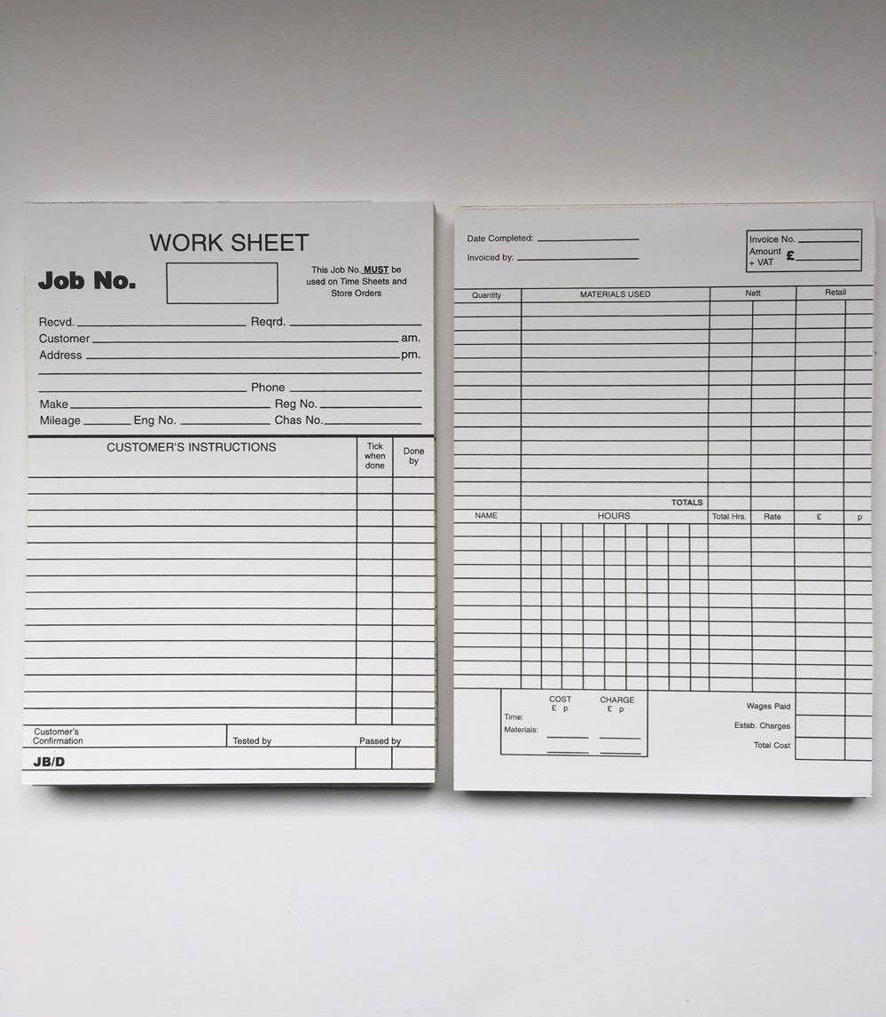 Garage Repair Invoice Garage Workshop Job Cards Jennychem Motorcare