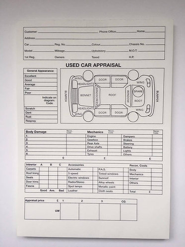 Used Car/ Vehicle Sales Appraisal Pad