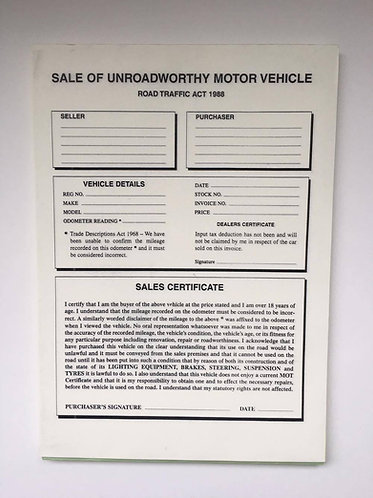 Invoice Pad For The Sale Of Unroadworthy Vehicles