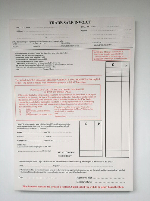 used car vehicle sales trade sale invoice pad for buying and, Invoice templates