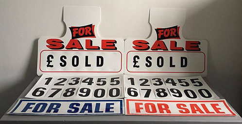 2x Red Car For Sale Sign Visor Hanging Price 2x Free Self Cling Window Stickers