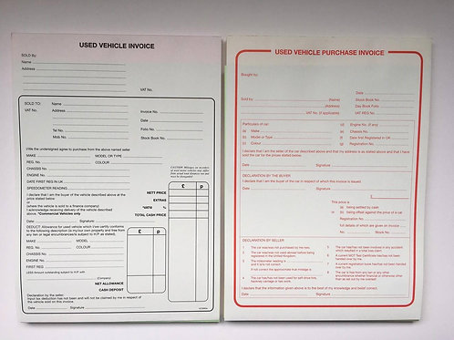 Used Car Sales Invoice Pad & Used Car Purchase Pad