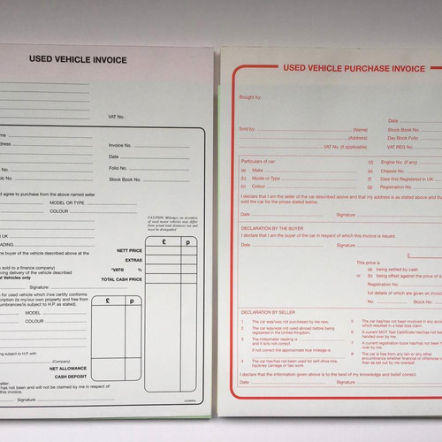 used car sales invoice pad used car purchase pad