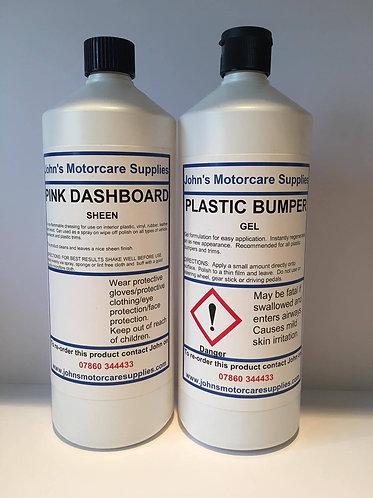 Pink Dashboard Sheen 1L & Plastic Bumper Gel 1L