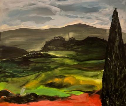 Toscana, akryl på lerret, 100x120 cm