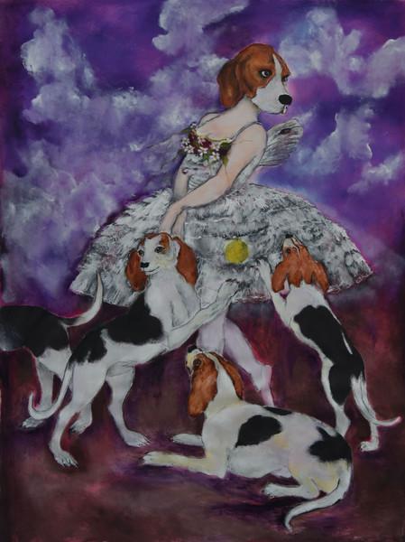 Puppies Dream, 150x110 cm, olje på lerret