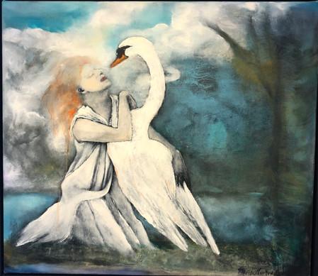 Passion with Swan 64x73, olje på lerret