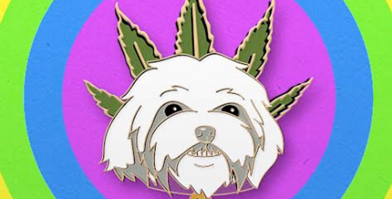 Cannabis Crowned Pup soft enamel pin