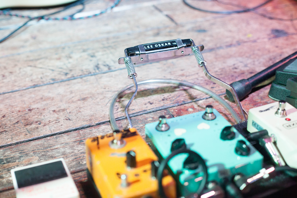 Guitar pedals and harmonica