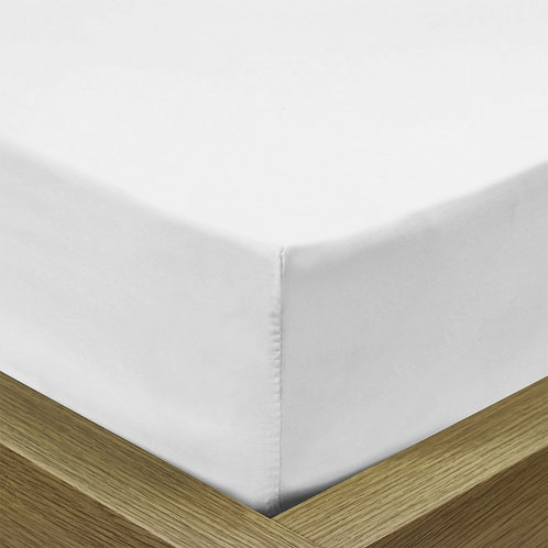 White Cotton Rich Percale Easy Care Fitted Sheet