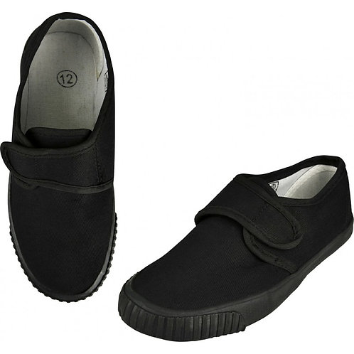 Velcro Plimsolls -BLACK