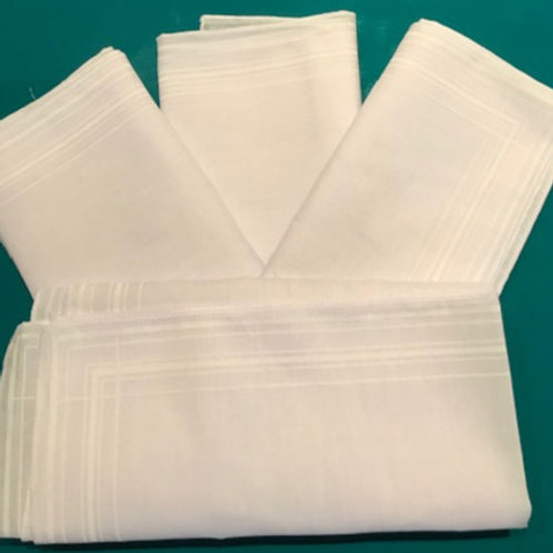 MENS LARGE WHITE HANDKERCHIEFS - SOLD SEPARATELY
