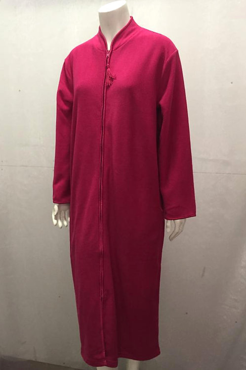 FULL ZIP DRESSING GOWN IN DEEP PINK