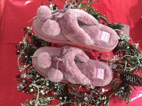 Slip on Ladies Slippers in Dusty Pink  /  Navy