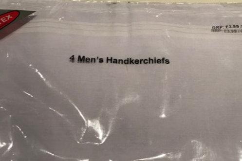 MENS VALUE WHITE HANDKERCHIEFS-4 PCE SET