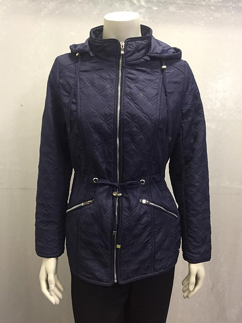 JESSICA GRAAF- embossed quilted jacket with hood in Navy