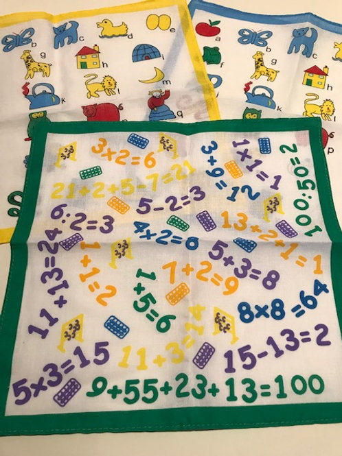 CHILDRENS LEARNING HANDKERCHIEFS -2 DESIGNS