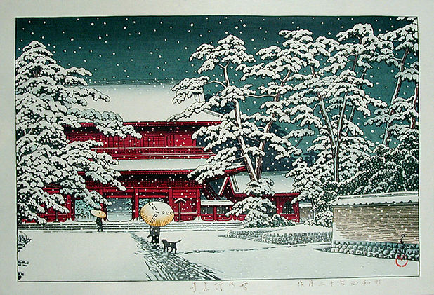 Kawase_Hasui-No_Series-Zojoji_Temple_in_