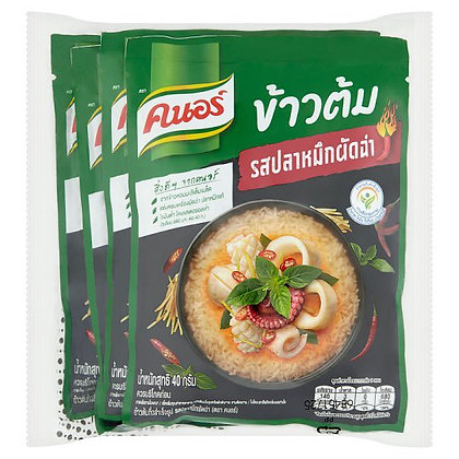 Knorr Stir Fried Spicy Squid Flavour Instant Rice Soup 40g. Pack4