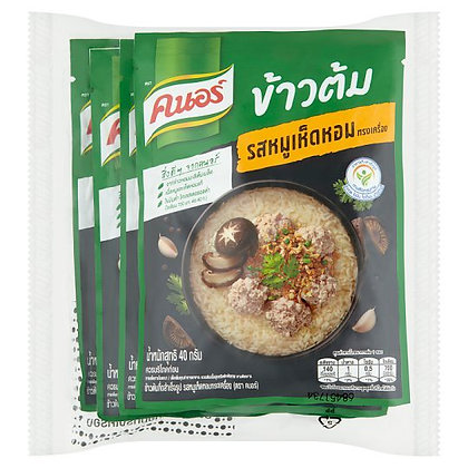 Knorr Pork Mushroom Song Krueng Flavour Instant Rice Soup 40g. Pack4