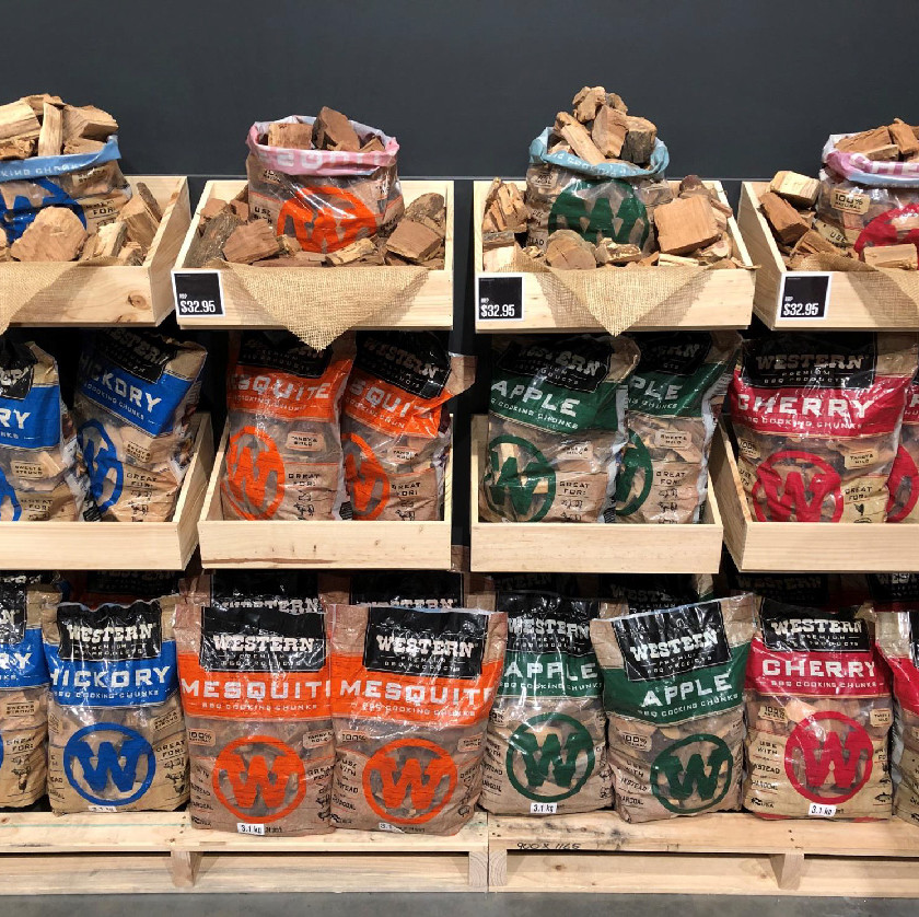 Wood chips display design, Barbeques Galore