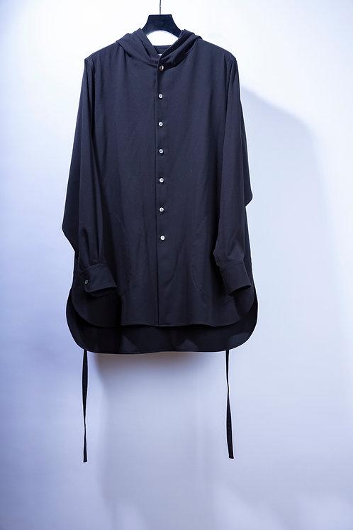 prasthana strings hooded shirt - Black