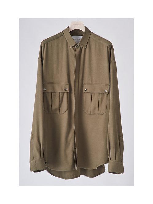 APOCRYPHA. Military Vintage Rayon Shirt - Khaki