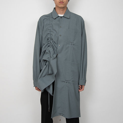 PORTVEL DRAWSTRING LONG SHIRT - BlueGrey