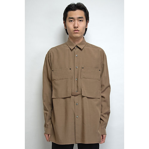 NULABEL CM1YOK42 Fall/Winter 2020 OFFICERS SHIRT - CamelBeige