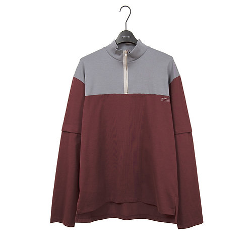 PORTVEL HALF ZIP TEE - Burgundy