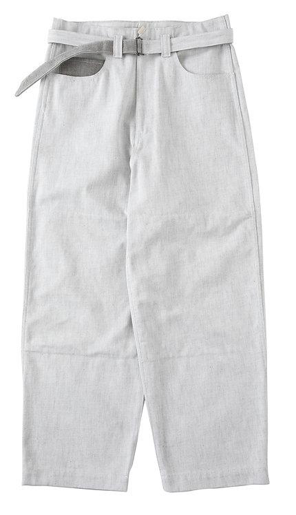 saby SUPER BIG PANTS - 12oz Bingo denim - White×Brown