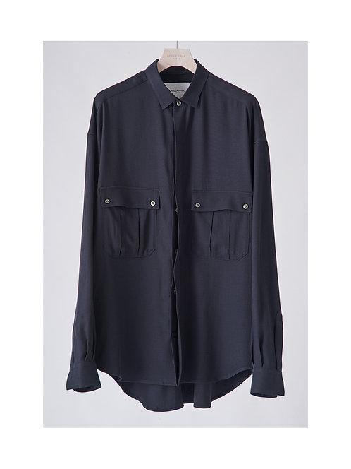 APOCRYPHA. Military Vintage Rayon Shirt - Navy