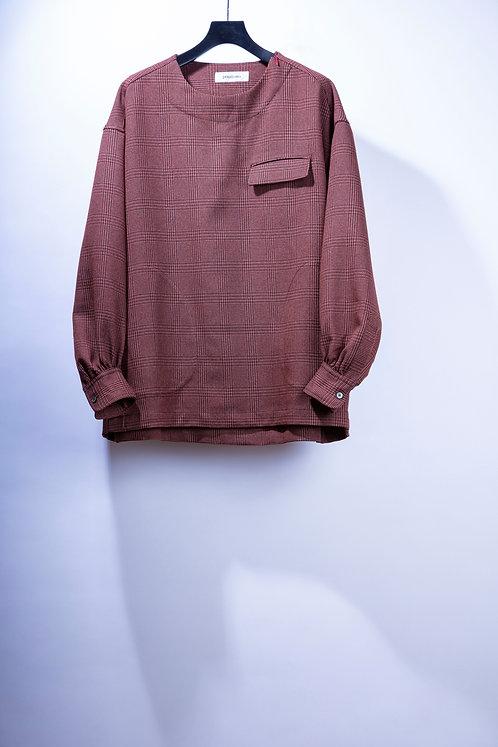 prasthana balloon sleeve P/O shirt -Red Brown