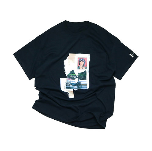 elephant TRIBAL fabrics TEE(B-Bike) BLACK
