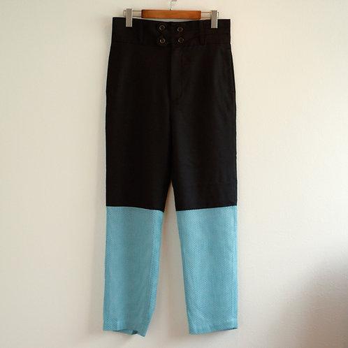 "RANDY Personal ""2 tone pants"" - black × Light Blue"