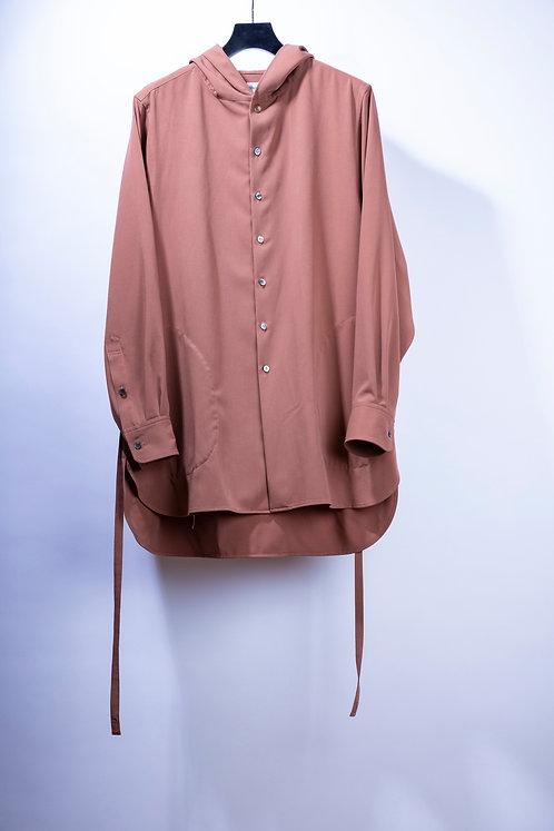 prasthana strings hooded shirt - Red Brown